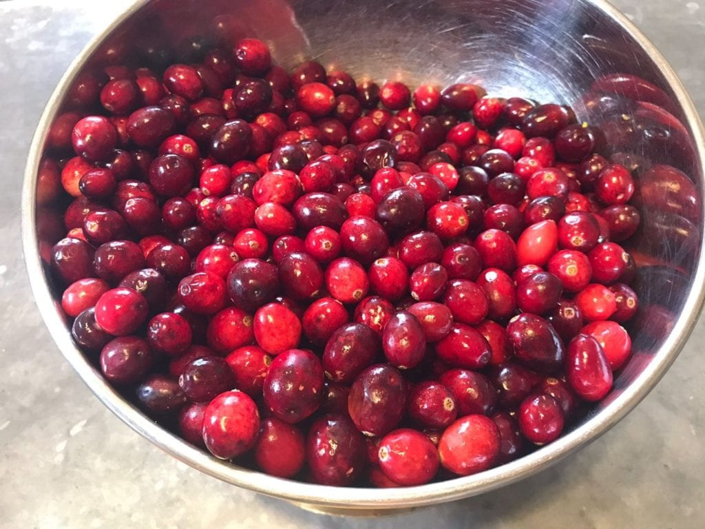 round and juicy cranberries in stainless steel bowl