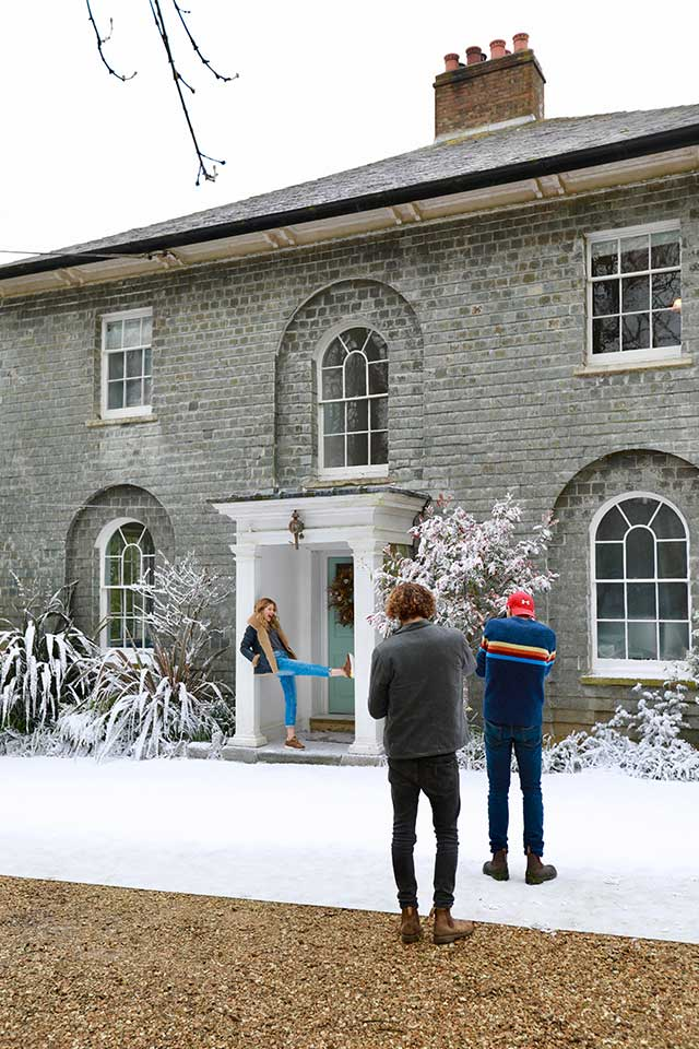 Behind the scenes of Snow Business photoshoot at Treseren Cornwall