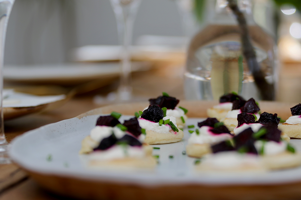 Homemade beetroot blinis wedding menu