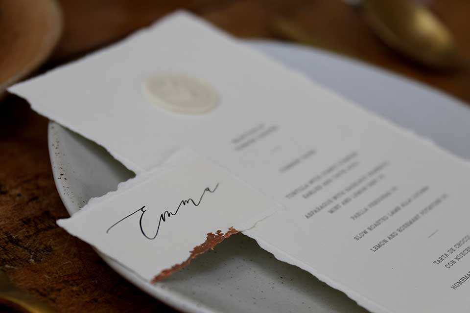 wedding name place setting with gold foil edges
