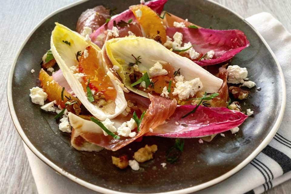 Valentine's recipe starter - Chicory, Blood orange and Speck salad
