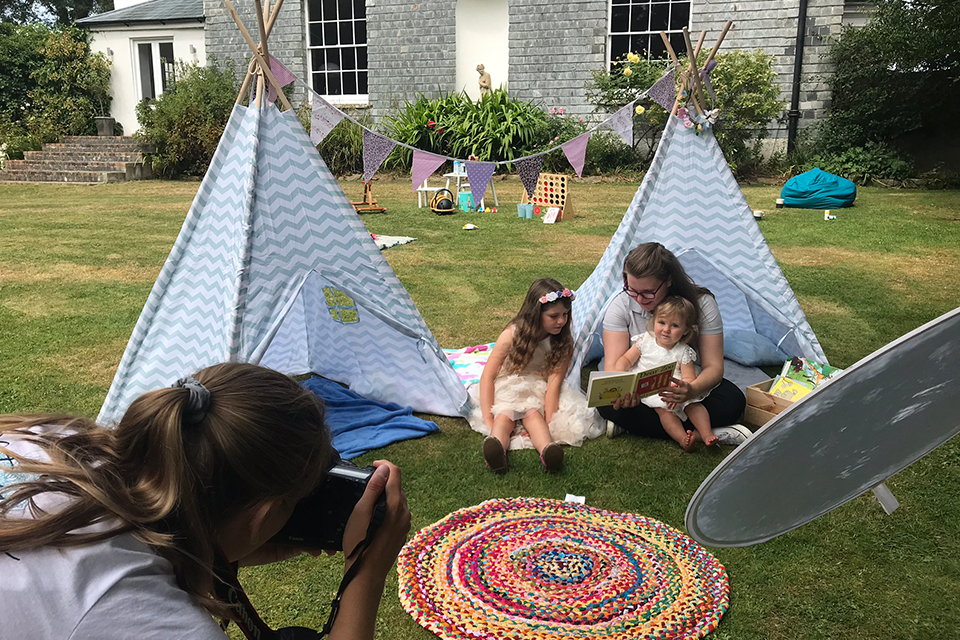 Wedding childcare tipi and garden games