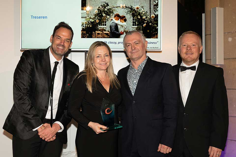 Treseren receiving silver awards at The Cornwall Tourism Awards 2019 presented by Johnny Cowling