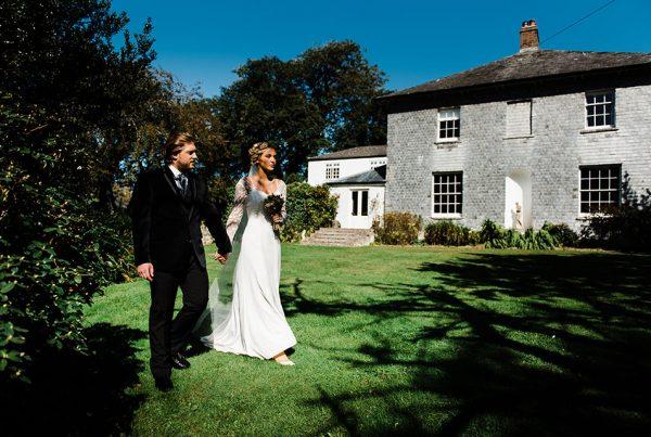 bride and groom wedding photoshoot Georgian house gardens Cornwall