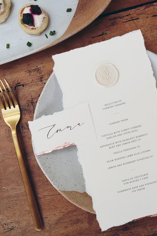 Gold foil and hand written calligraphy wedding menu