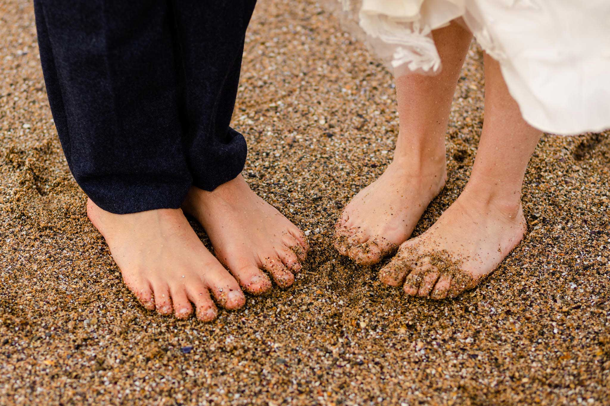 sandy toes on wedding day
