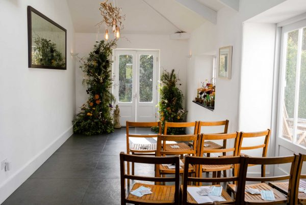 small wedding ceremony location with autumn flowers
