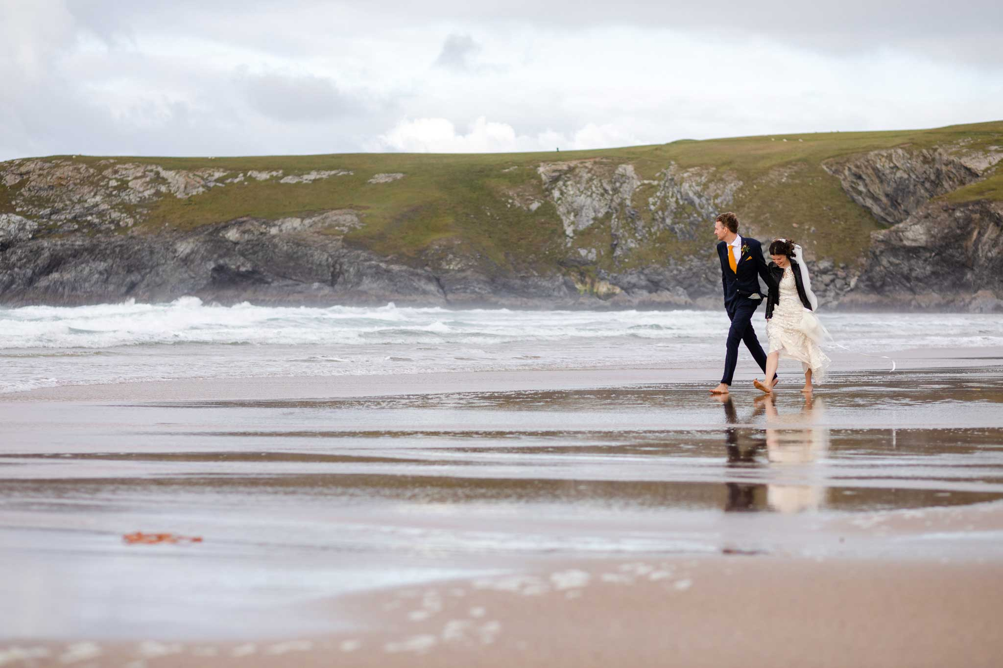 wedding couple on Cornish beach