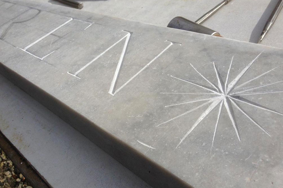 Treseren marble sign star carving