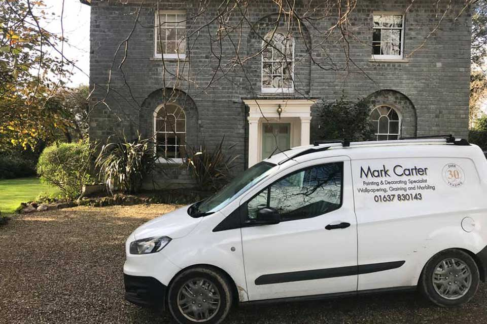 Mark Carter's white decorating van parked outside Treseren, a small wedding venue in Cornwall