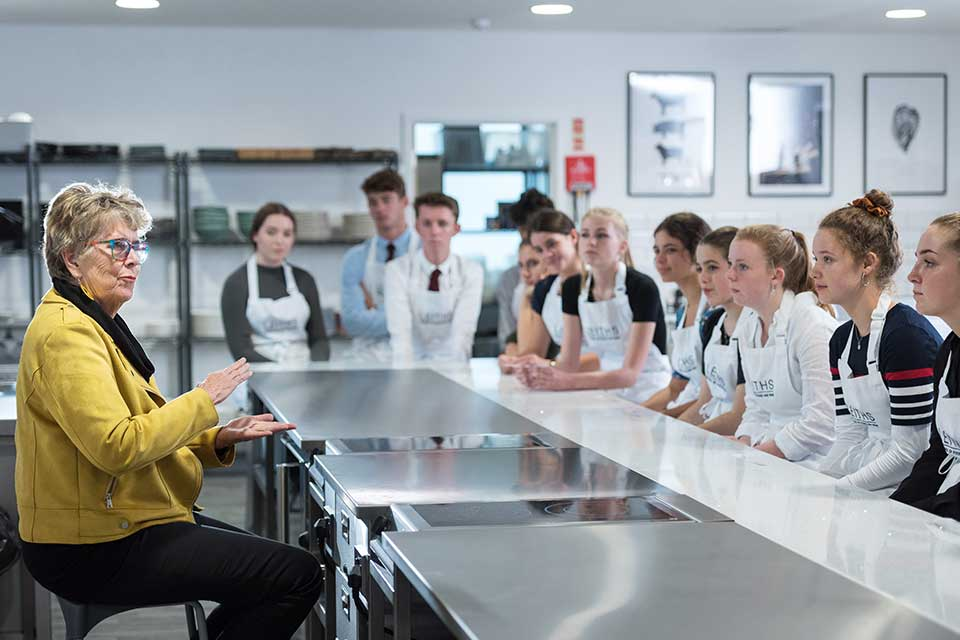 Pru Leith visiting Truro Cookery School