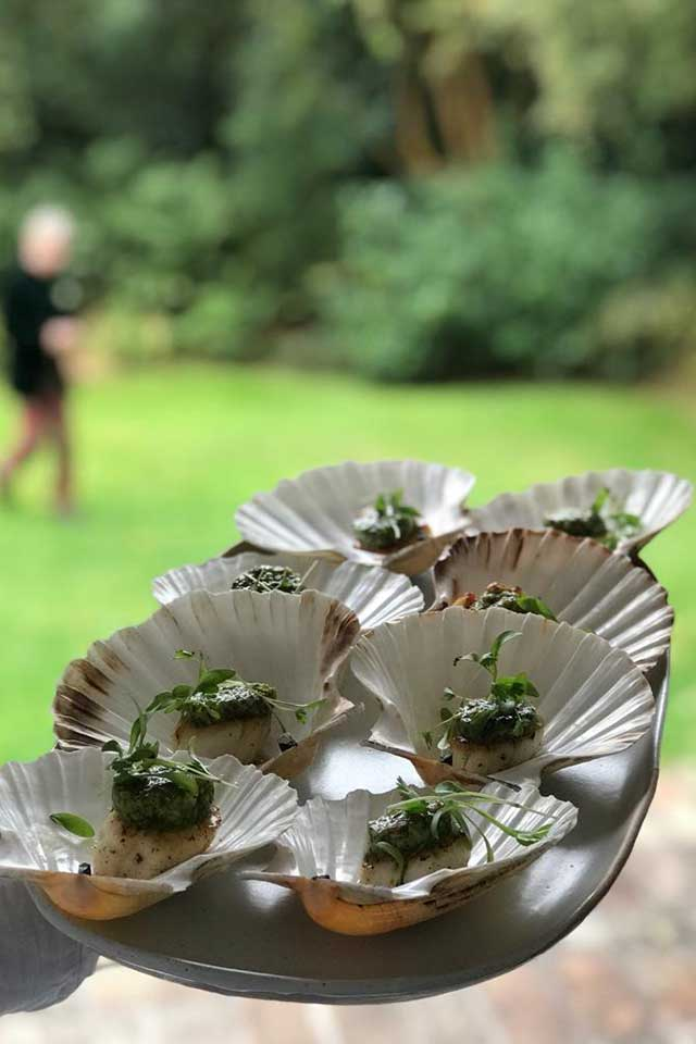 wedding canape platter with scallops
