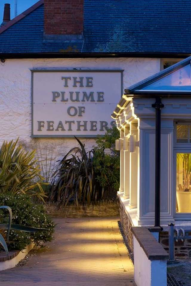 The Plume of Feathers pub sign Cornwall