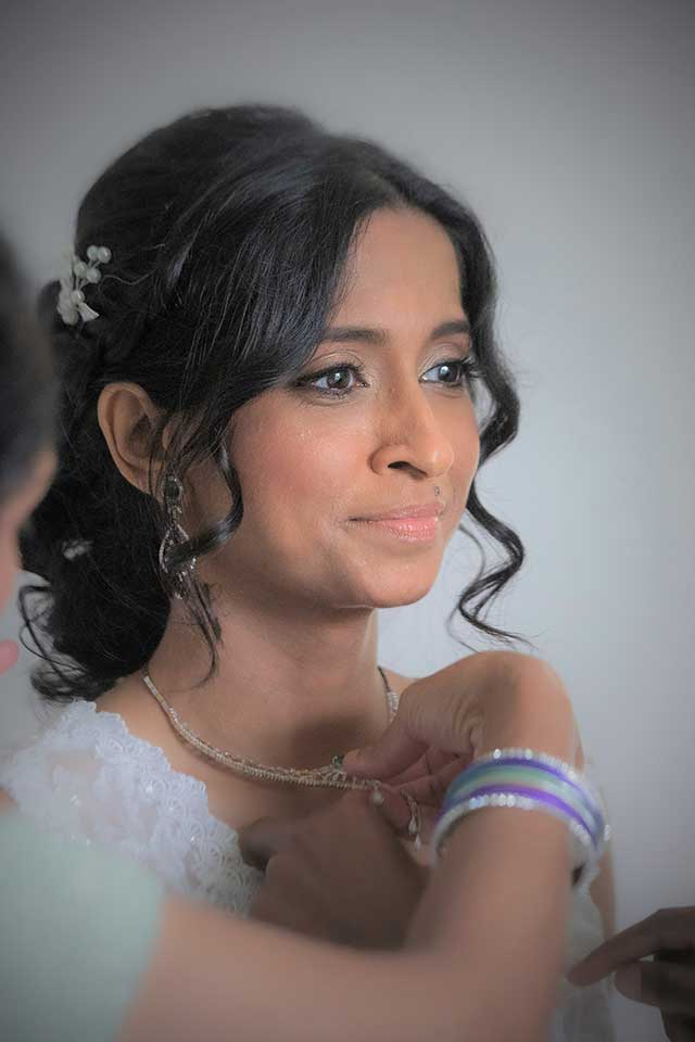 beautiful Anglo-Indian fusion bride on her wedding day