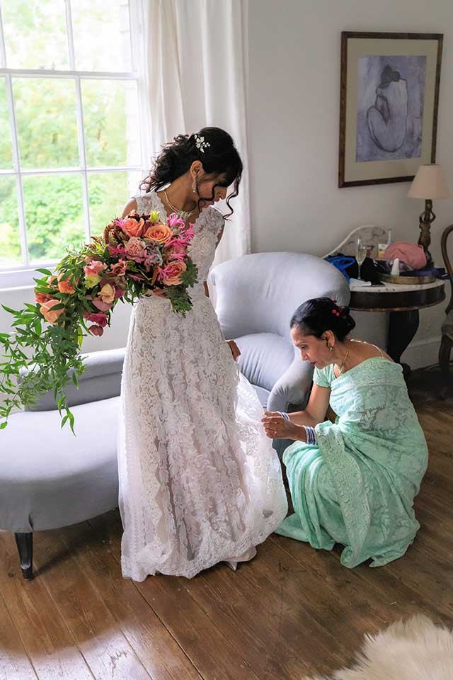 bride and mother of the bride on wedding morning