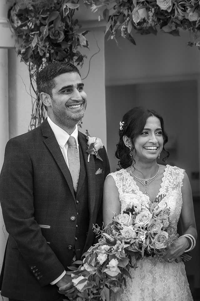 bride and groom at small wedding ceremony