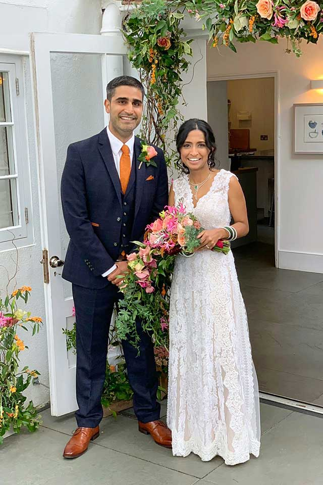 happy couple at Anglo-Indian fusion wedding