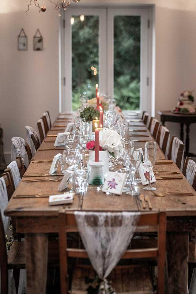 small wedding table settings