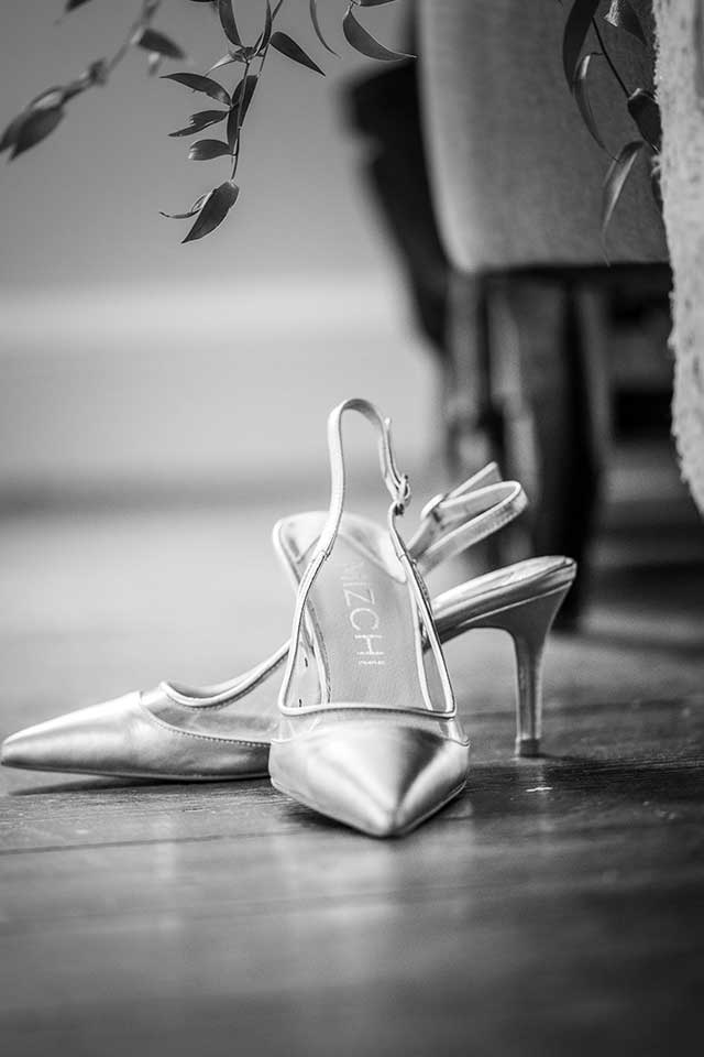 Brides wedding shoes black and white
