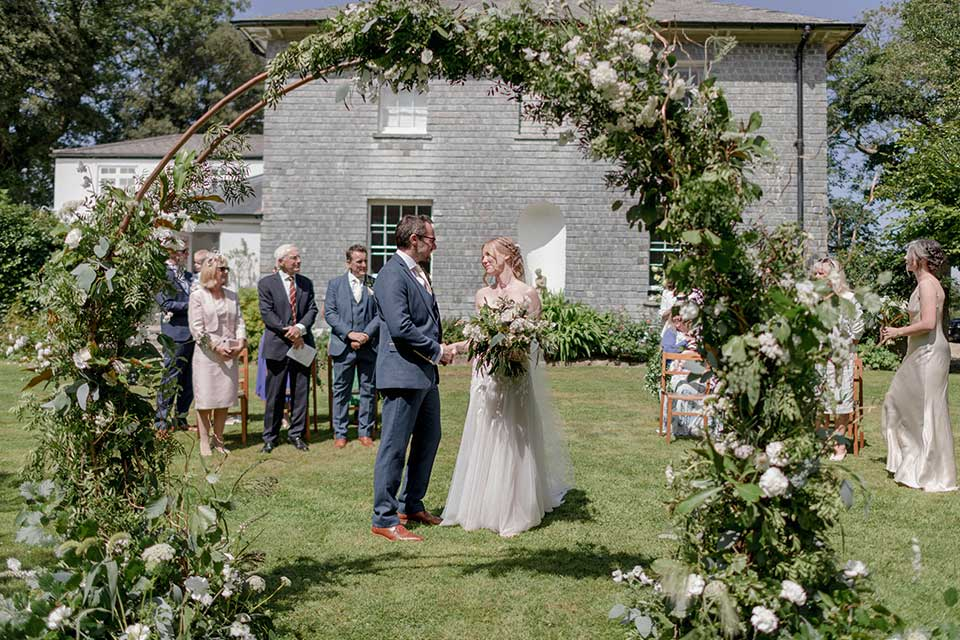 small wedding ceremony in the summer