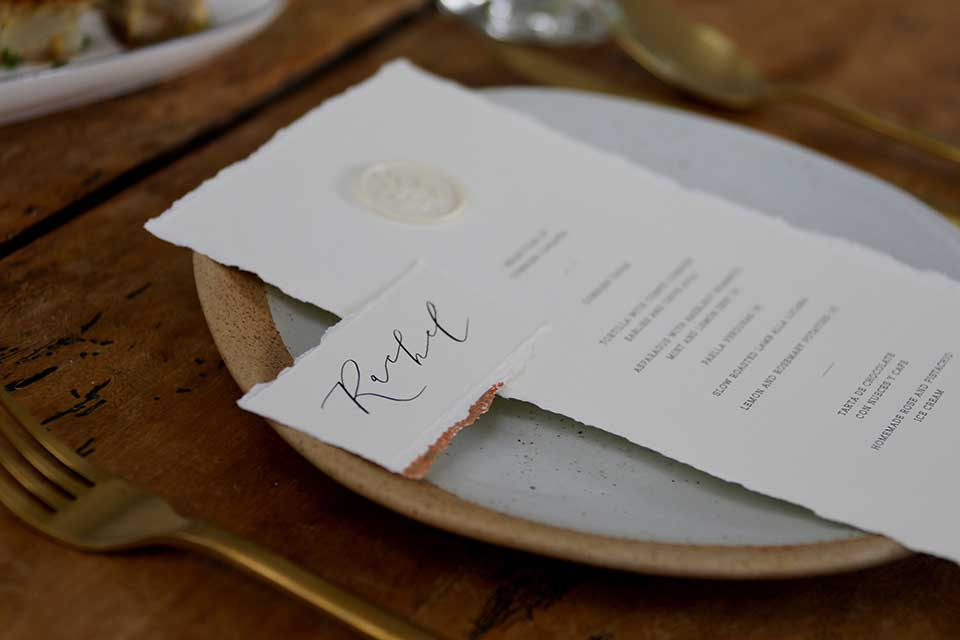 handmade wedding stationery place setting with copper foiled edges