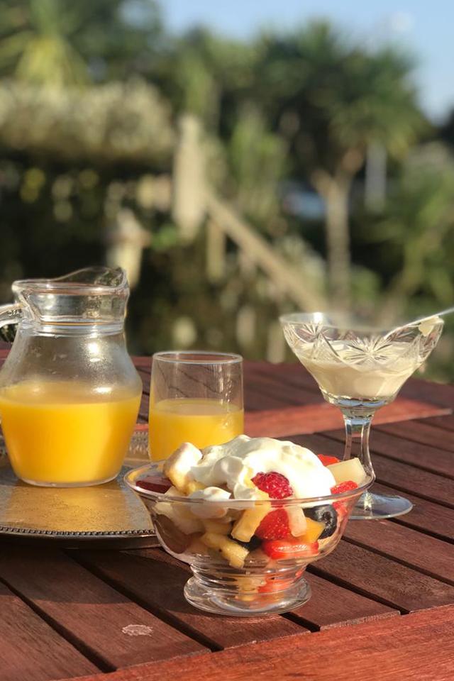 Fresh breakfast in the sunshine with homemade jam