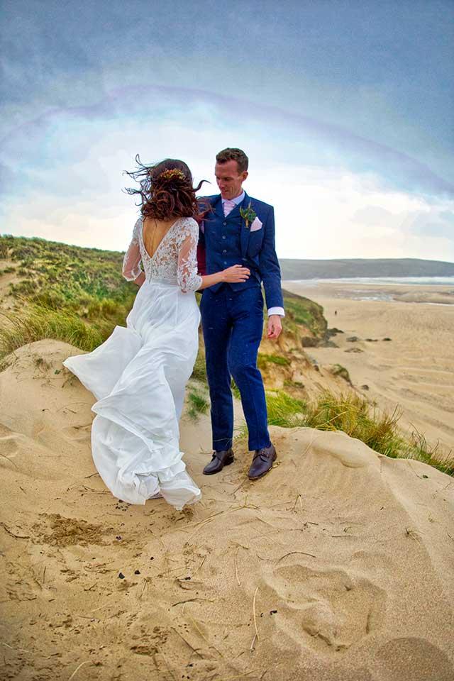 autumn wedding couple on the beach in Cornwall