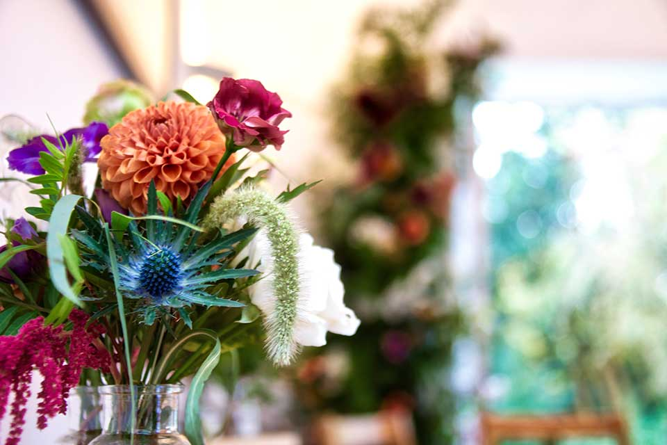 autumn wedding flowers with sea holly