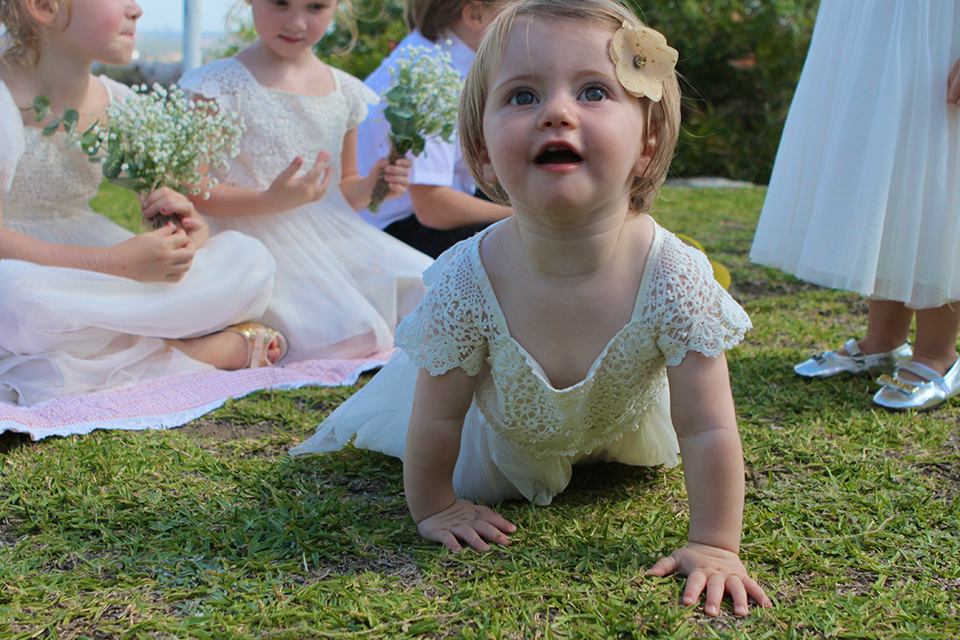 baby girls crawling wedding dress