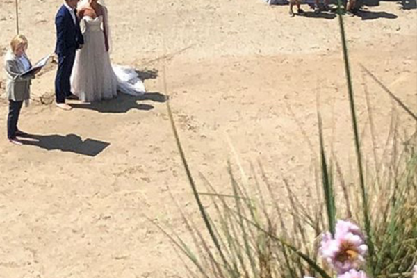 wedding ceremony on the beach in Cornwall