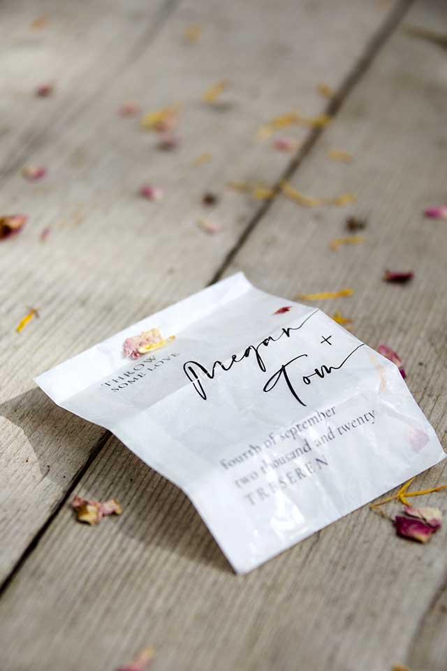 customised wedding confetti bag