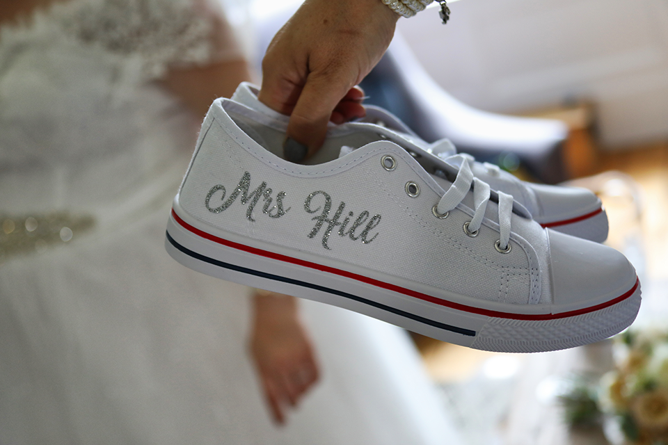 personalised mrs brides white wedding shoes