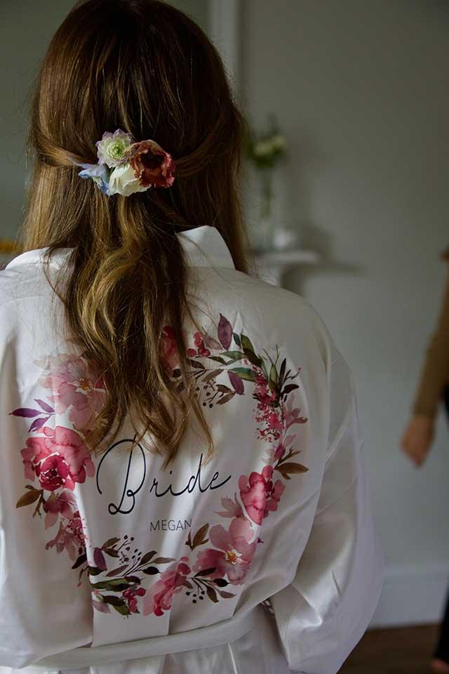 bride wearing customised bride dressing gown