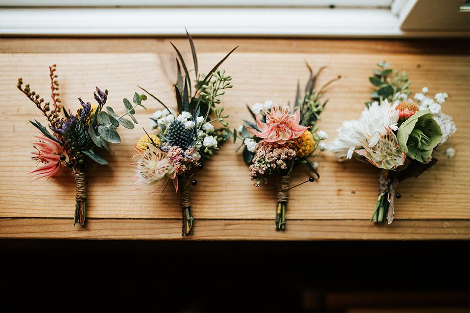 rustic flower wedding buttonholes