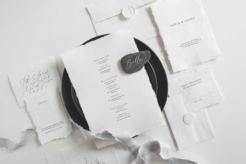 miminal white wedding stationery set