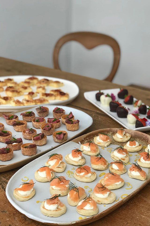 wedding canapes on platters