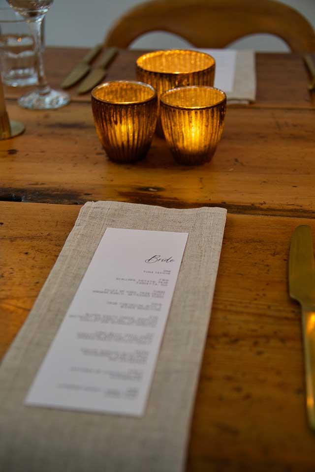 wedding menu table setting