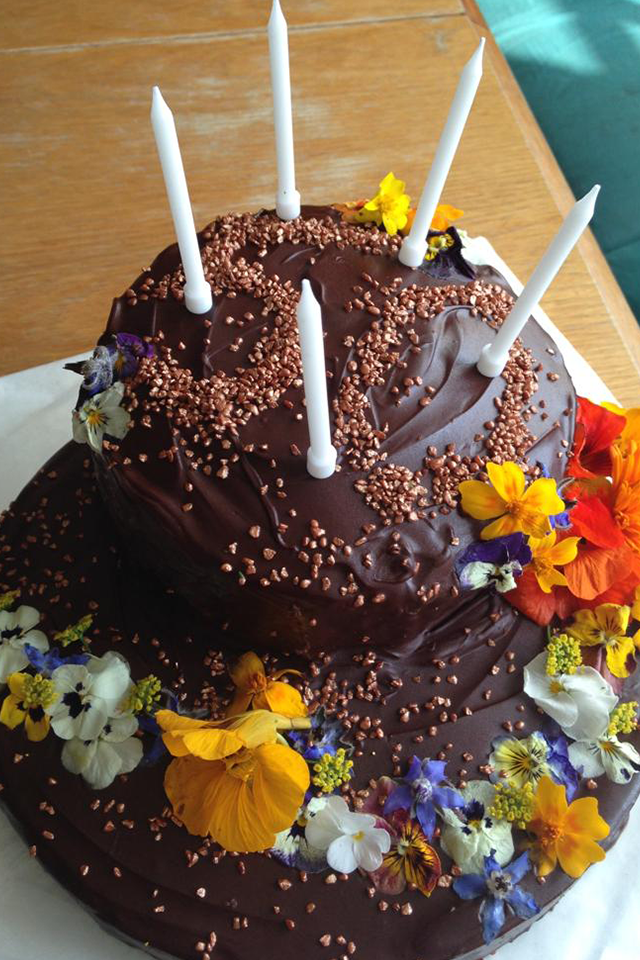 chocolate celebration cake with fresh flowers