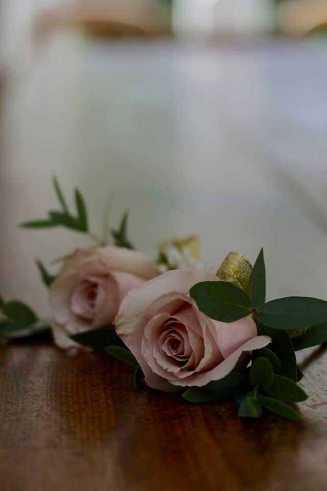 2 blush pink rose wedding buttonholes