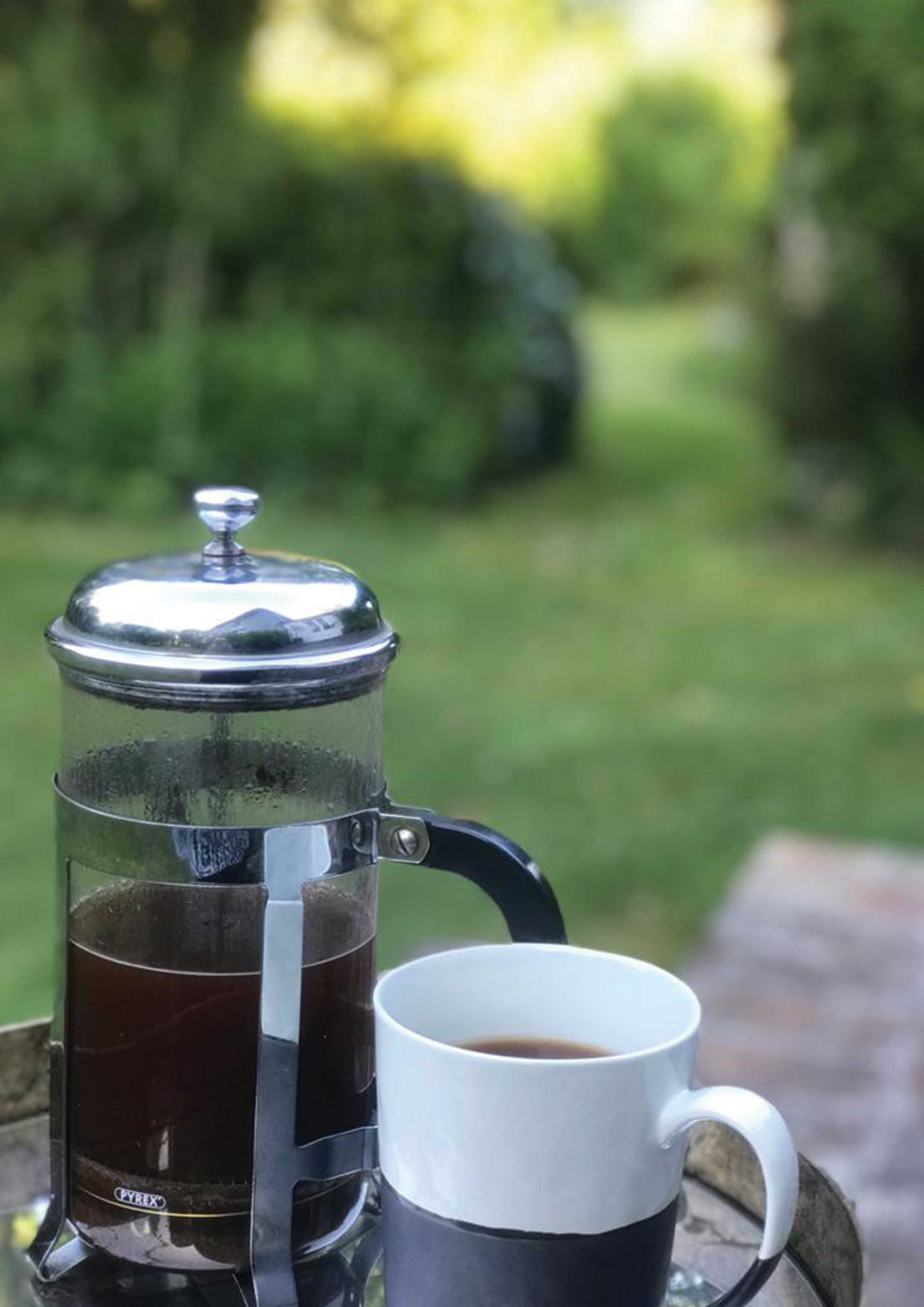Quay coffee in cafetiere with rustic coffee mug