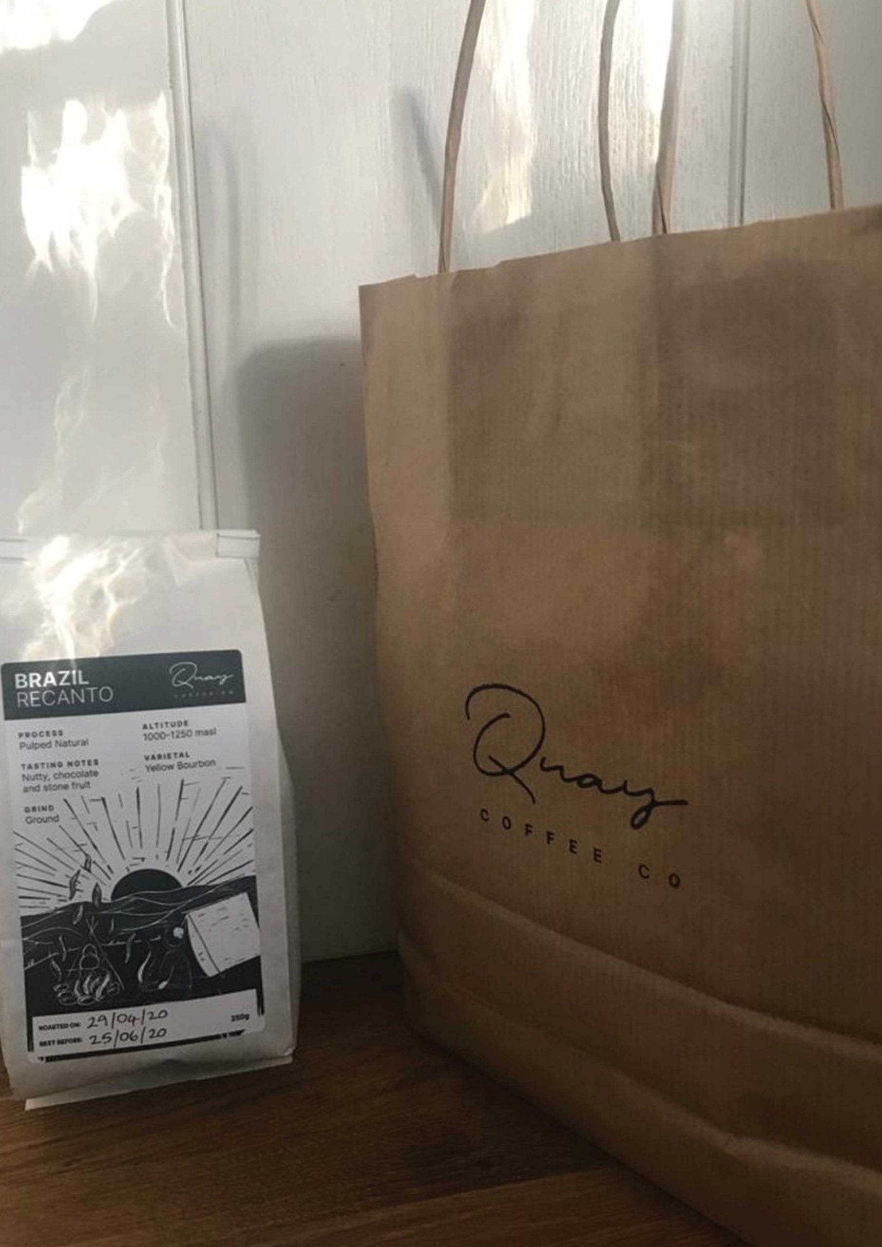 Quay coffee delivery brown paper bag