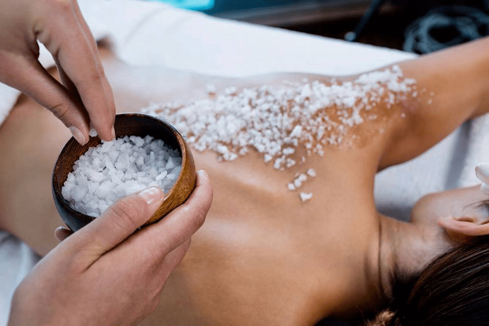 back massage with Cornish sea salt