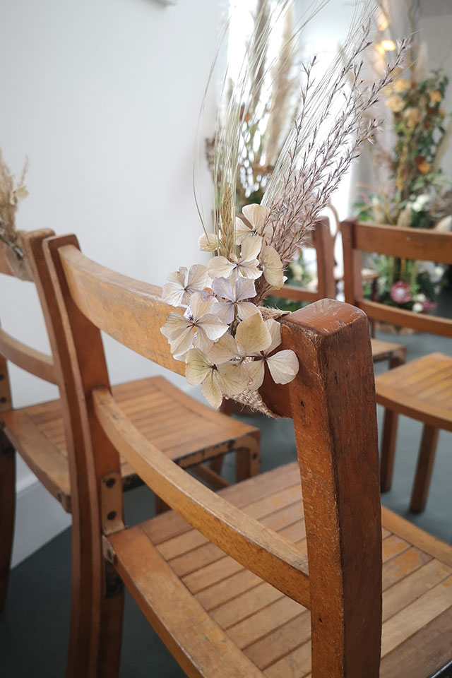 small wedding dried flower chair backs