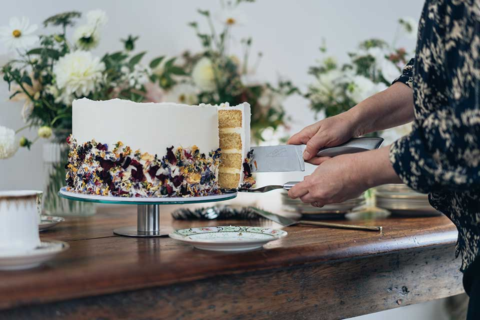 elegant micro wedding cake with dried flower petals