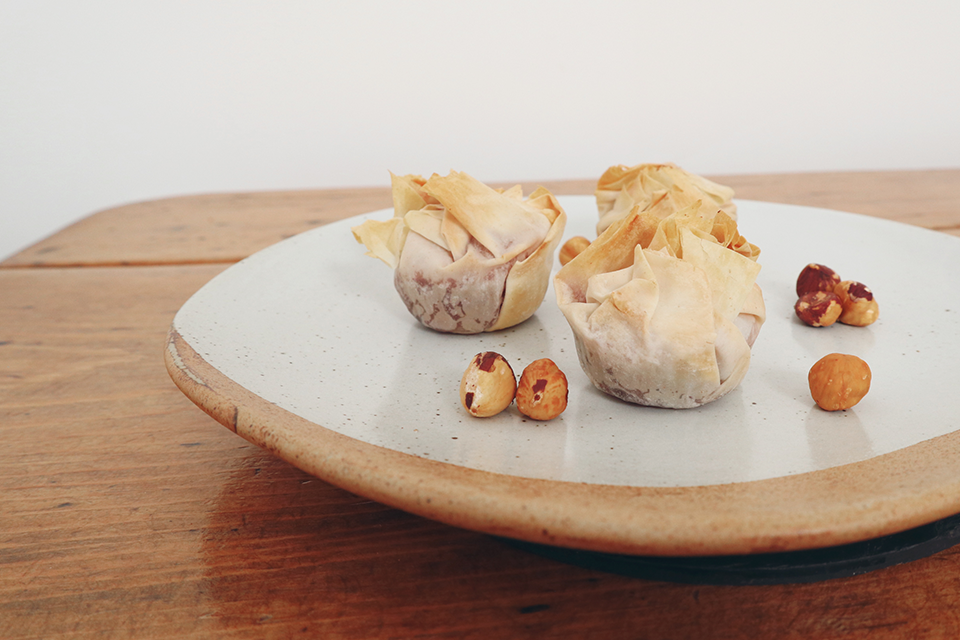 Brie and cranberry filo parcels handmade wedding menu