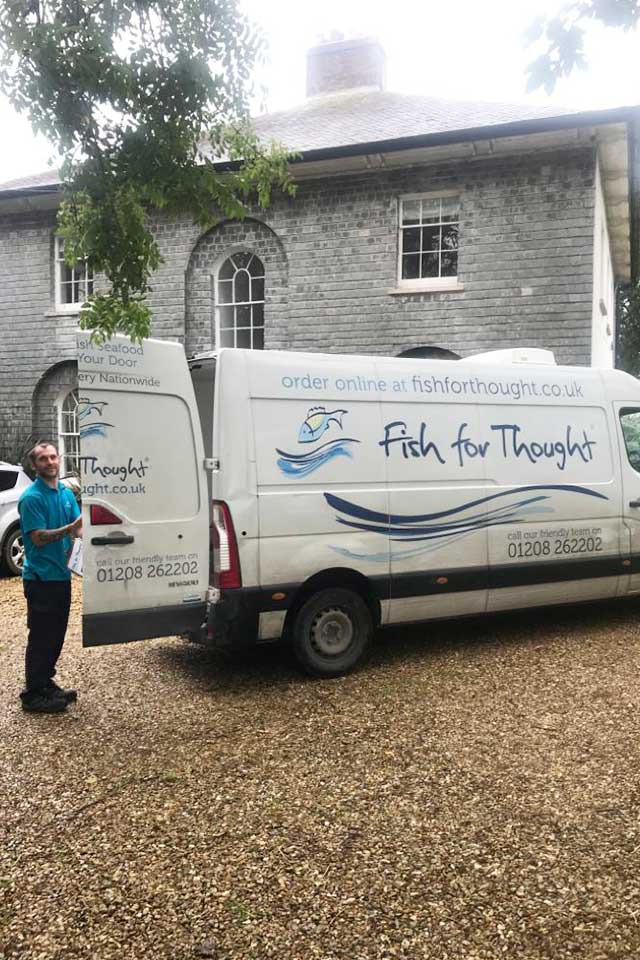 Fresh Cornish fish delivery van of freshly caught fish