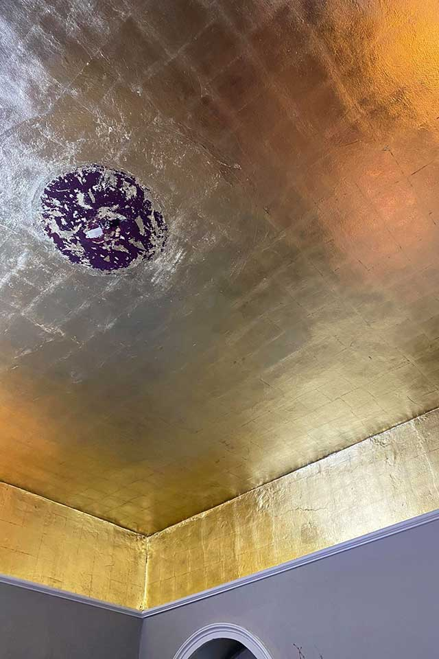 Gold ceiling in cocktail bar