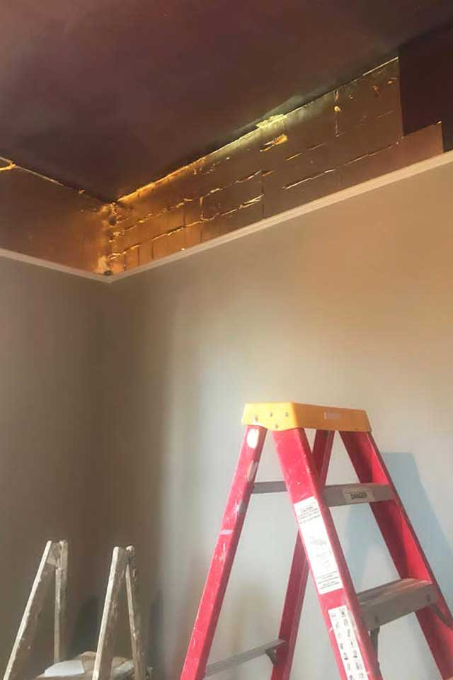 red ladder in room with gold leaf ceiling