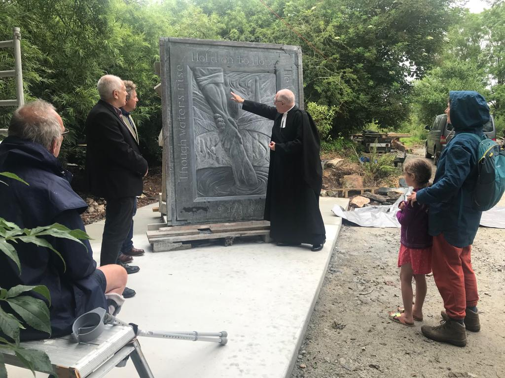unveiling of slate sculpture memorial at Shepherds House, Cornwall