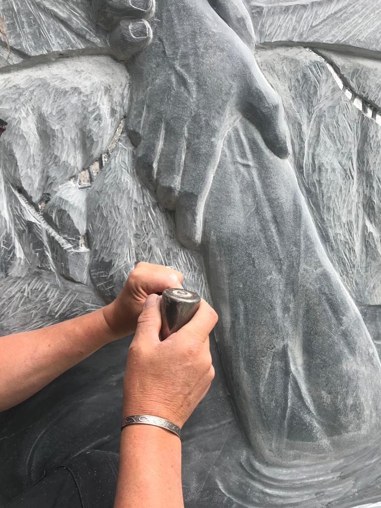 Detail of Ben Dearnley Cornish memorial sculpture